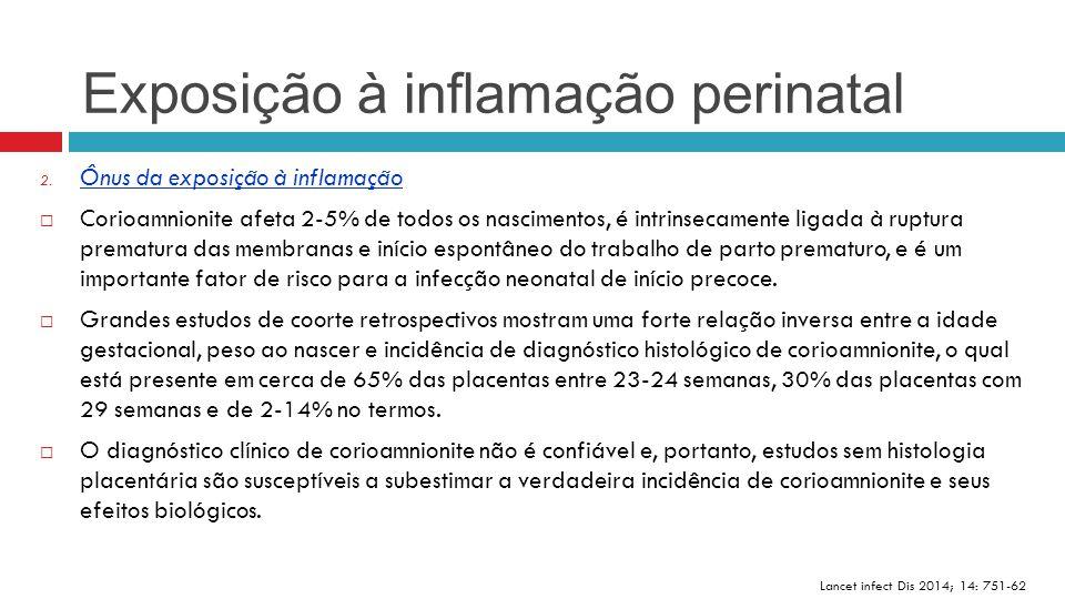 Exposição à inflamação perinatal Lancet infect Dis 2014; 14: 751-62 2. Ônus da exposição à inflamação  Corioamnionite afeta 2-5% de todos os nascimen