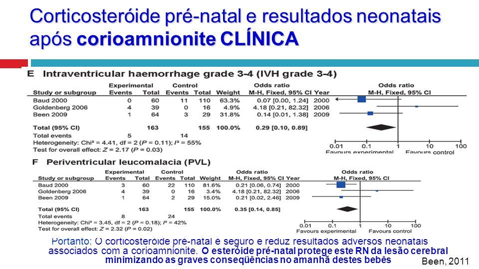 Corticosteróide pré-natal e resultados neonatais após corioamnionite CLÍNICA Portanto: O corticosteróide pré-natal é seguro e reduz resultados adverso