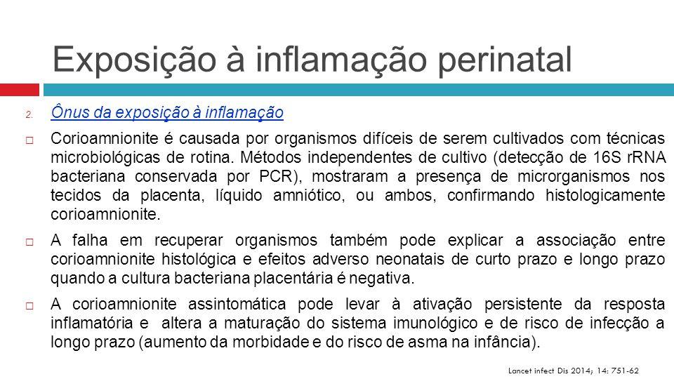 Exposição à inflamação perinatal Lancet infect Dis 2014; 14: 751-62 2. Ônus da exposição à inflamação  Corioamnionite é causada por organismos difíce