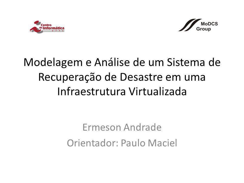 Modelagem e Análise de um Sistema de Recuperação de Desastre em uma Infraestrutura Virtualizada Ermeson Andrade Orientador: Paulo Maciel