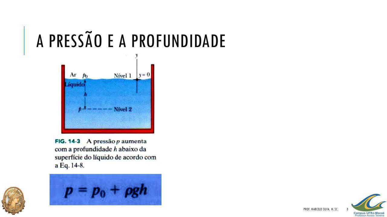 A PRESSÃO E A PROFUNDIDADE PROF. MARCELO SILVA, M. SC.8
