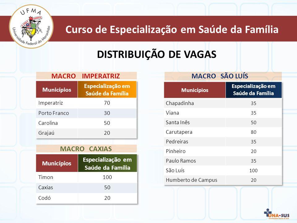 MACRO IMPERATRIZ DISTRIBUIÇÃO DE VAGAS MACRO CAXIAS MACRO SÃO LUÍS Curso de Especialização em Saúde da Família