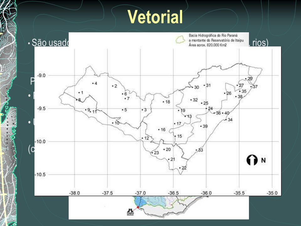 Vetorial São usados para informações de objetos lineares (estrada, rios) ou áreas definidas por linhas fechadas (polígonos) (município, bacia hidrográ