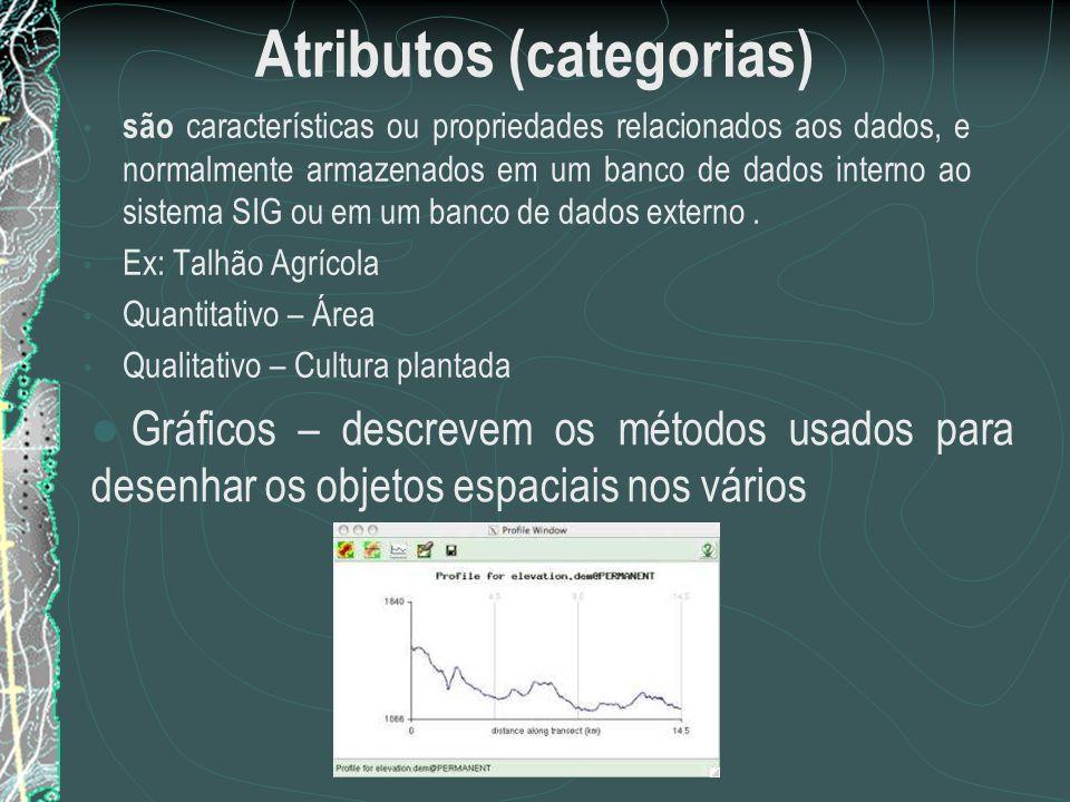 Atributos (categorias) são características ou propriedades relacionados aos dados, e normalmente armazenados em um banco de dados interno ao sistema S