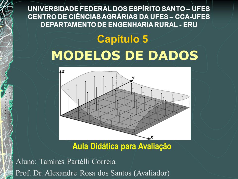 MODELOS DE DADOS Aluno: Tamíres Partélli Correia Prof. Dr. Alexandre Rosa dos Santos (Avaliador) Aula Didática para Avaliação Capítulo 5 UNIVERSIDADE