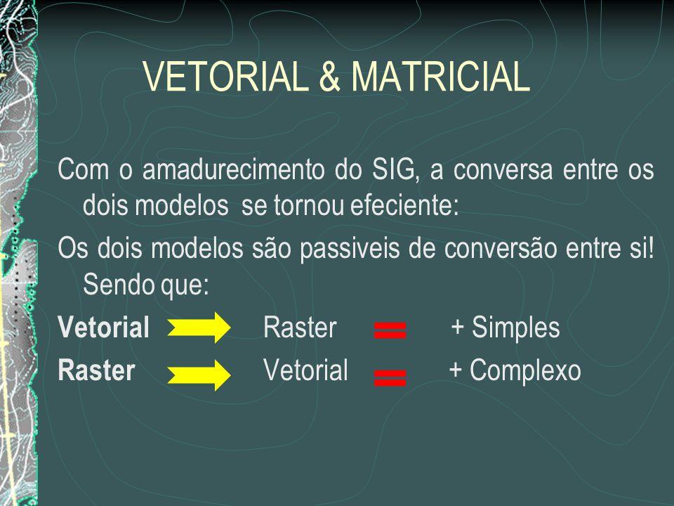 VETORIAL & MATRICIAL Com o amadurecimento do SIG, a conversa entre os dois modelos se tornou efeciente: Os dois modelos são passiveis de conversão ent