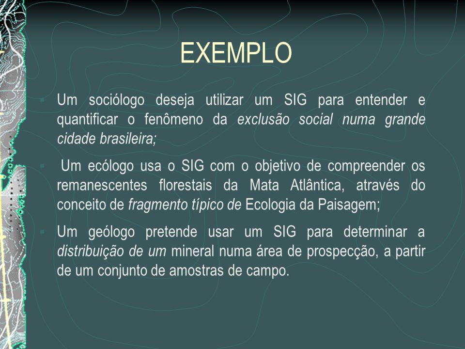 EXEMPLO  Um sociólogo deseja utilizar um SIG para entender e quantificar o fenômeno da exclusão social numa grande cidade brasileira;  Um ecólogo us