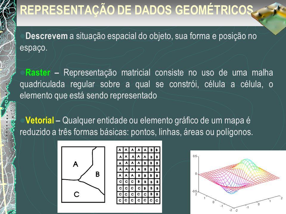REPRESENTAÇÃO DE DADOS GEOMÉTRICOS Descrevem a situação espacial do objeto, sua forma e posição no espaço. Raster – Representação matricial consiste n