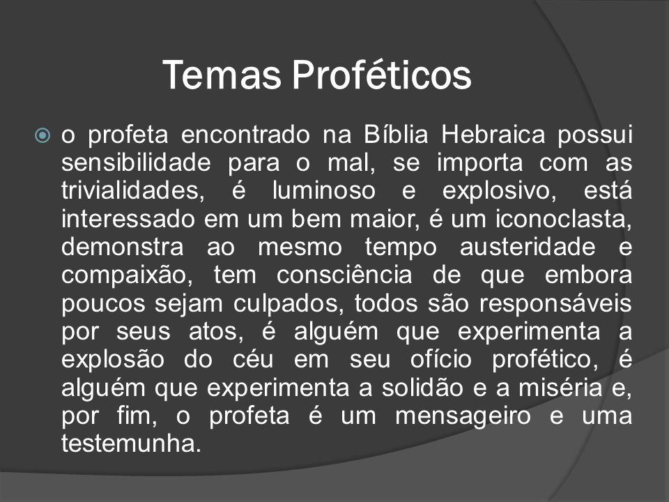  o profeta encontrado na Bíblia Hebraica possui sensibilidade para o mal, se importa com as trivialidades, é luminoso e explosivo, está interessado e