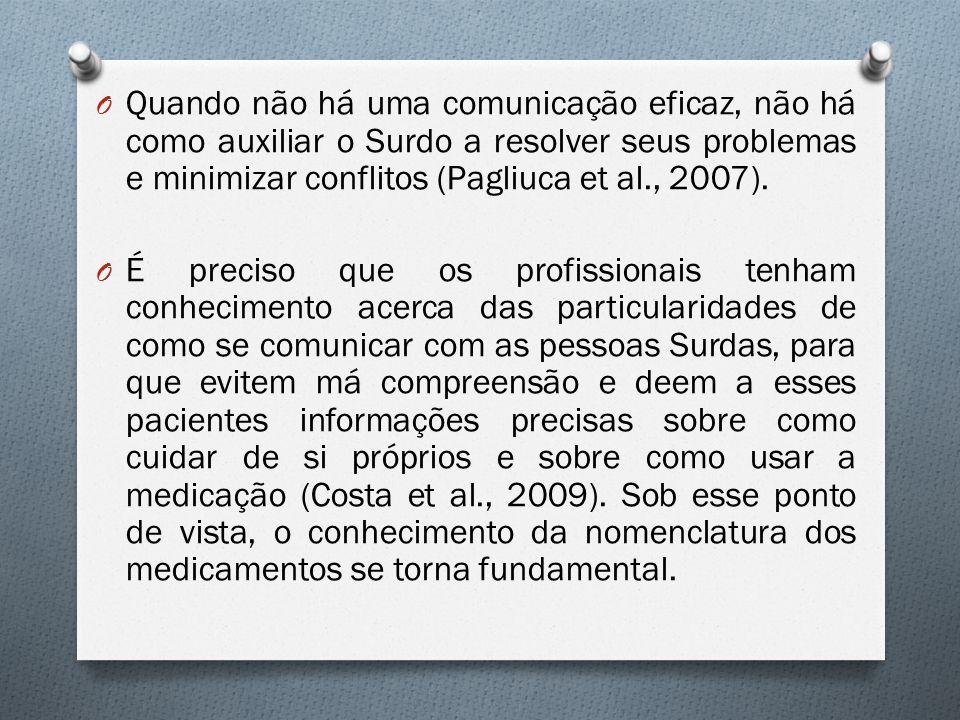 O Quando não há uma comunicação eficaz, não há como auxiliar o Surdo a resolver seus problemas e minimizar conflitos (Pagliuca et al., 2007). O É prec