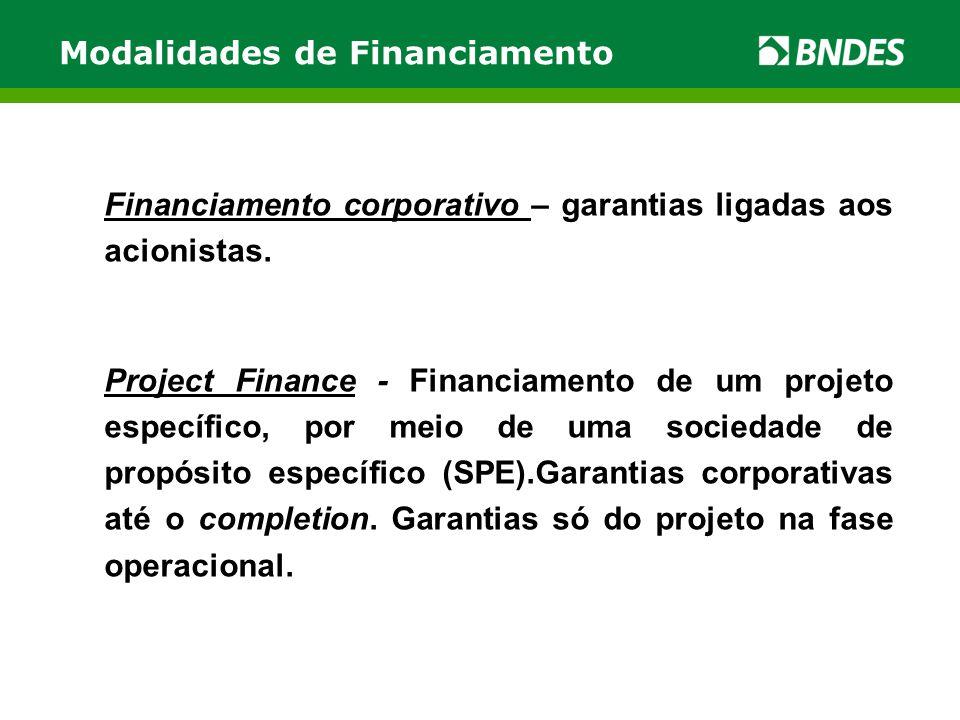 Modalidades de Financiamento Financiamento corporativo – garantias ligadas aos acionistas.