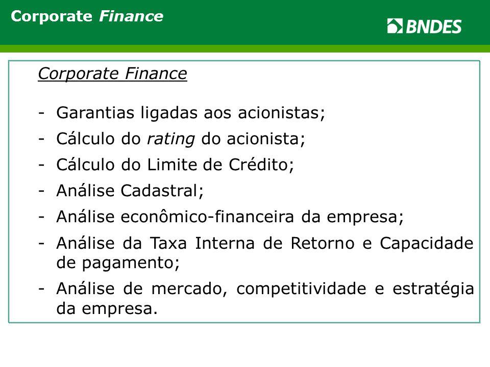 Corporate Finance -Garantias ligadas aos acionistas; -Cálculo do rating do acionista; -Cálculo do Limite de Crédito; -Análise Cadastral; -Análise econômico-financeira da empresa; -Análise da Taxa Interna de Retorno e Capacidade de pagamento; -Análise de mercado, competitividade e estratégia da empresa.