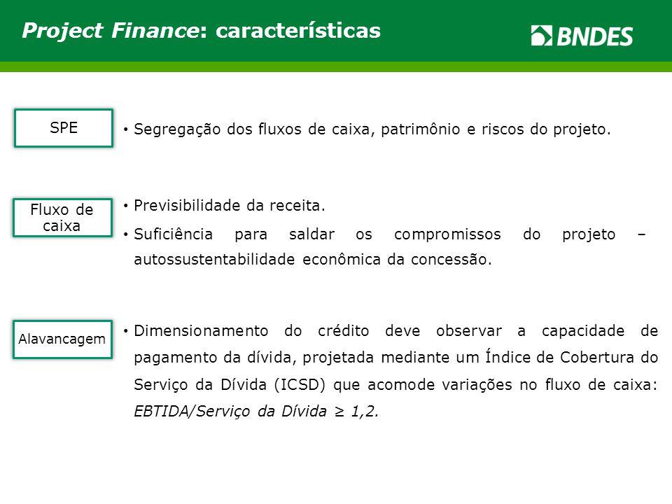 SPE Segregação dos fluxos de caixa, patrimônio e riscos do projeto.