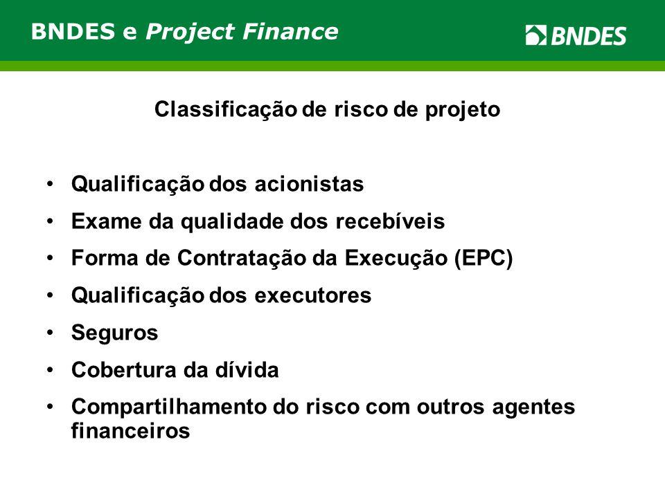 Classificação de risco de projeto Qualificação dos acionistas Exame da qualidade dos recebíveis Forma de Contratação da Execução (EPC) Qualificação dos executores Seguros Cobertura da dívida Compartilhamento do risco com outros agentes financeiros BNDES e Project Finance