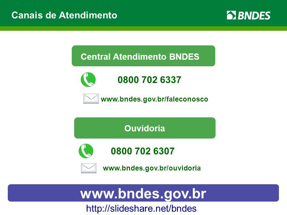 Canais de Atendimento http://slideshare.net/bndes www.bndes.gov.br Central Atendimento BNDES www.bndes.gov.br/faleconosco 0800 702 6337 Ouvidoria 0800 702 6307 www.bndes.gov.br/ouvidoria