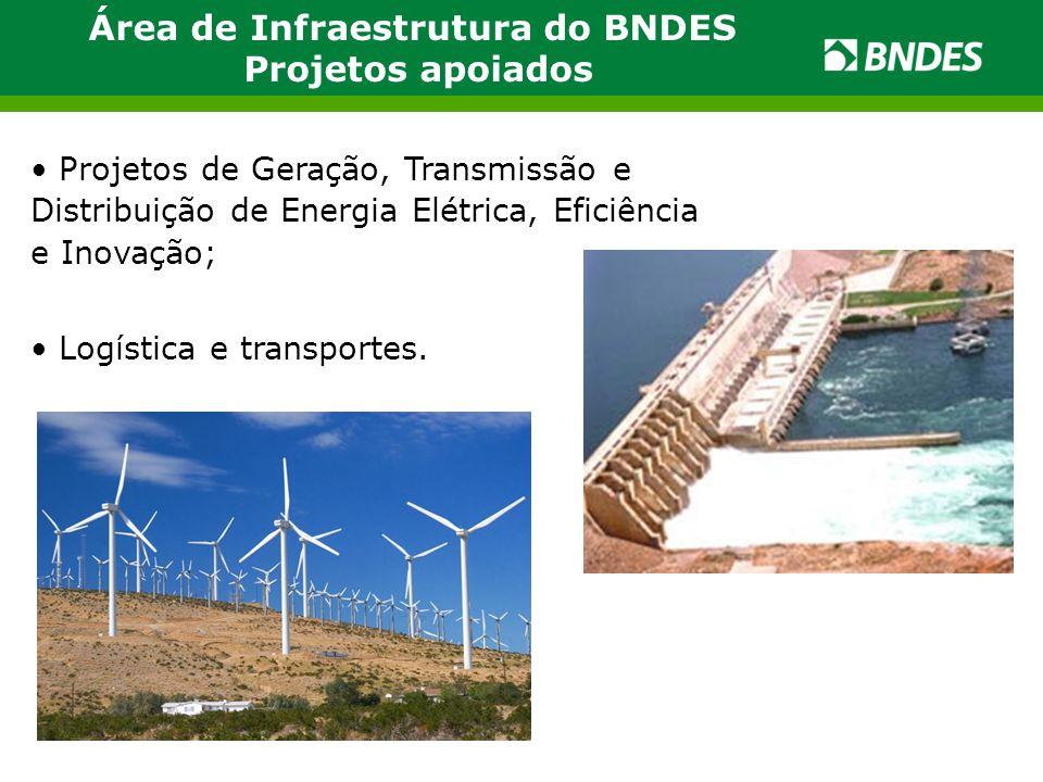 Área de Infraestrutura do BNDES Projetos apoiados Projetos de Geração, Transmissão e Distribuição de Energia Elétrica, Eficiência e Inovação; Logística e transportes.