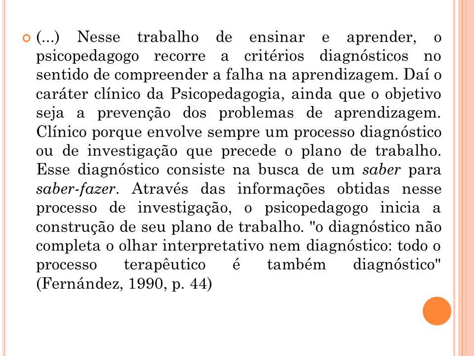 (...) Nesse trabalho de ensinar e aprender, o psicopedagogo recorre a critérios diagnósticos no sentido de compreender a falha na aprendizagem. Daí o