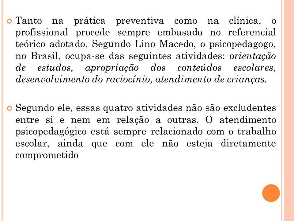 Tanto na prática preventiva como na clínica, o profissional procede sempre embasado no referencial teórico adotado. Segundo Lino Macedo, o psicopedago