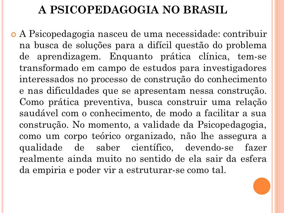 A PSICOPEDAGOGIA NO BRASIL A Psicopedagogia nasceu de uma necessidade: contribuir na busca de soluções para a difícil questão do problema de aprendiza