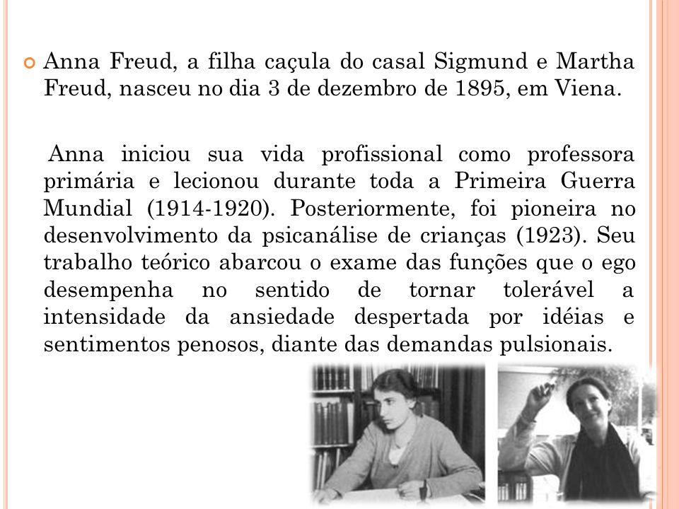Anna Freud, a filha caçula do casal Sigmund e Martha Freud, nasceu no dia 3 de dezembro de 1895, em Viena. Anna iniciou sua vida profissional como pro