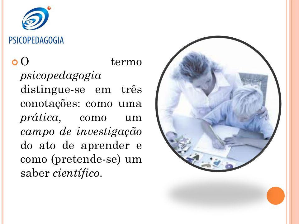O termo psicopedagogia distingue-se em três conotações: como uma prática, como um campo de investigação do ato de aprender e como (pretende-se) um sab