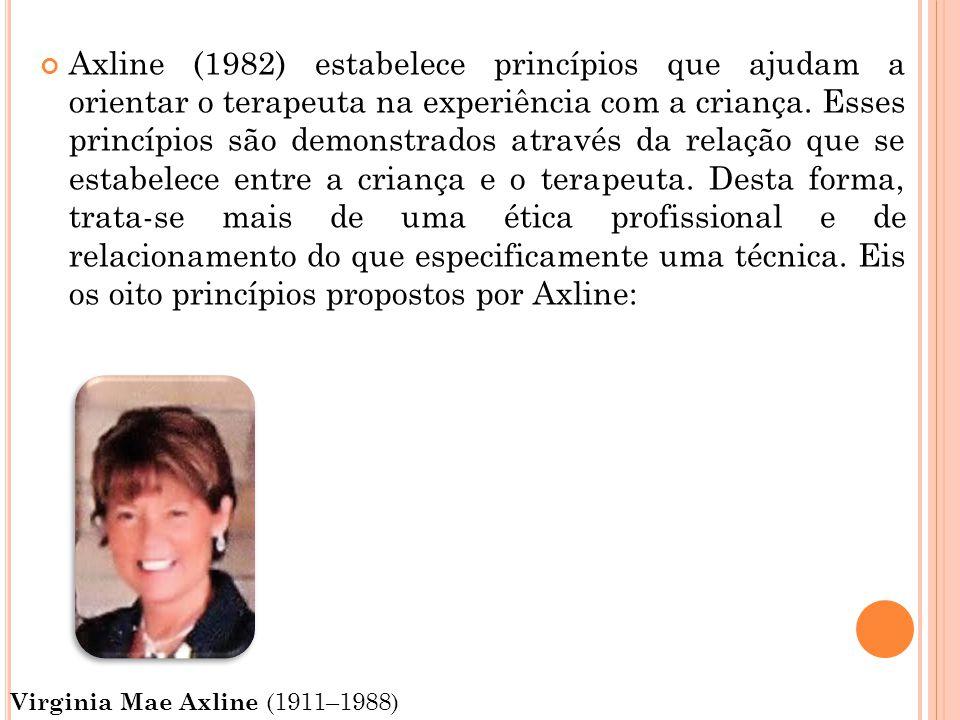 Axline (1982) estabelece princípios que ajudam a orientar o terapeuta na experiência com a criança. Esses princípios são demonstrados através da relaç