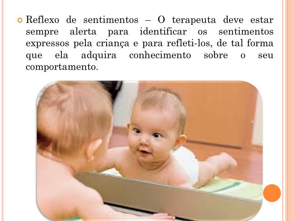 Reflexo de sentimentos – O terapeuta deve estar sempre alerta para identificar os sentimentos expressos pela criança e para refleti-los, de tal forma