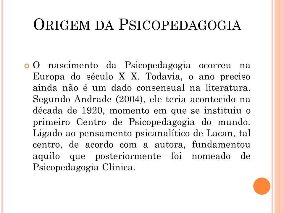 O RIGEM DA P SICOPEDAGOGIA O nascimento da Psicopedagogia ocorreu na Europa do século X X. Todavia, o ano preciso ainda não é um dado consensual na li