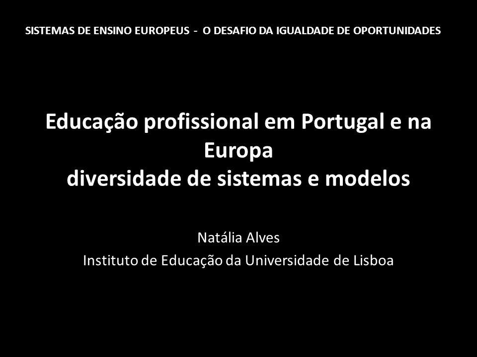 Educação profissional em Portugal e na Europa diversidade de sistemas e modelos Natália Alves Instituto de Educação da Universidade de Lisboa SISTEMAS DE ENSINO EUROPEUS - O DESAFIO DA IGUALDADE DE OPORTUNIDADES