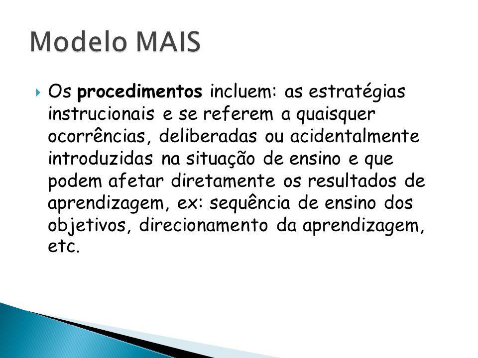  Os procedimentos incluem: as estratégias instrucionais e se referem a quaisquer ocorrências, deliberadas ou acidentalmente introduzidas na situação