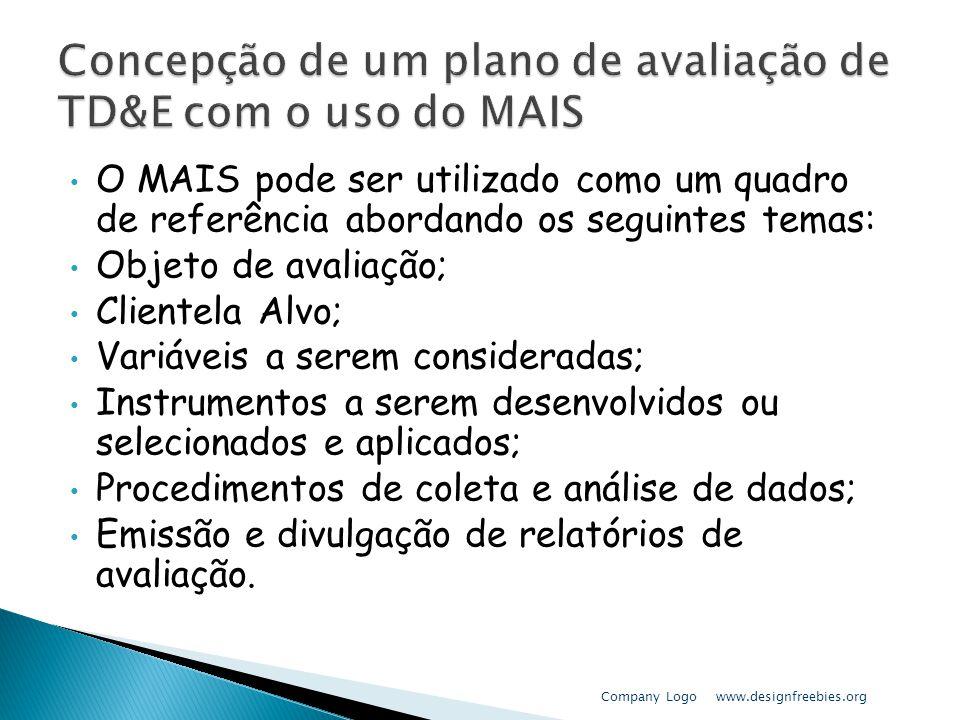 O MAIS pode ser utilizado como um quadro de referência abordando os seguintes temas: Objeto de avaliação; Clientela Alvo; Variáveis a serem considerad