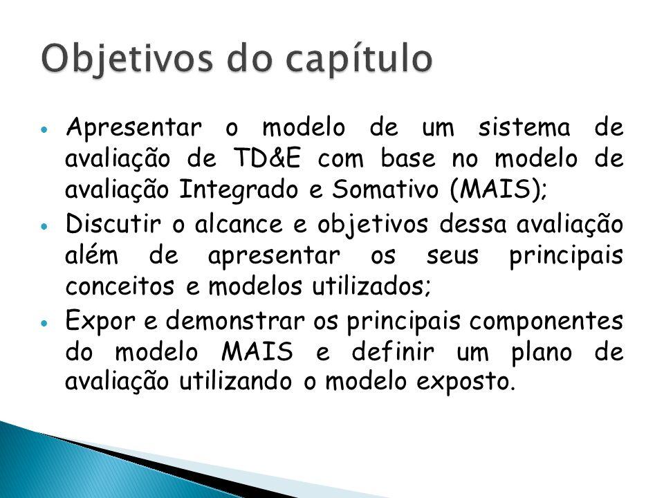  Apresentar o modelo de um sistema de avaliação de TD&E com base no modelo de avaliação Integrado e Somativo (MAIS);  Discutir o alcance e objetivos