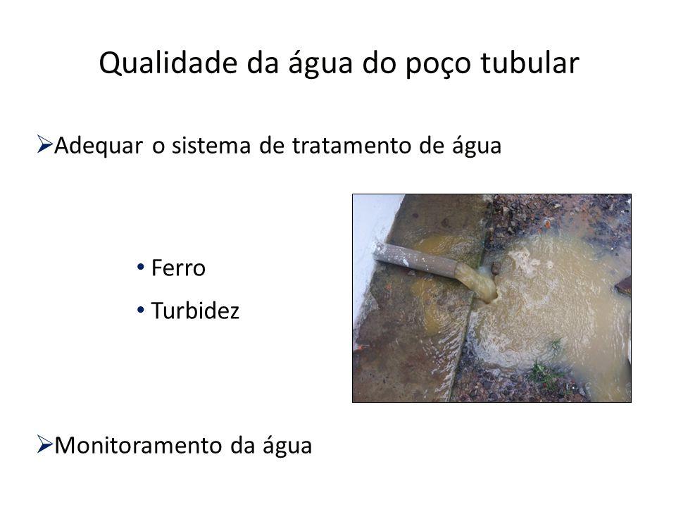 Qualidade da água do poço tubular  Adequar o sistema de tratamento de água  Monitoramento da água Ferro Turbidez