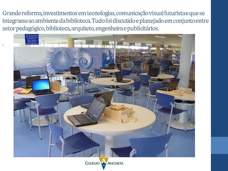 Grande reforma, investimentos em tecnologias, comunicação visual futurista e que se integrasse ao ambiente da biblioteca.