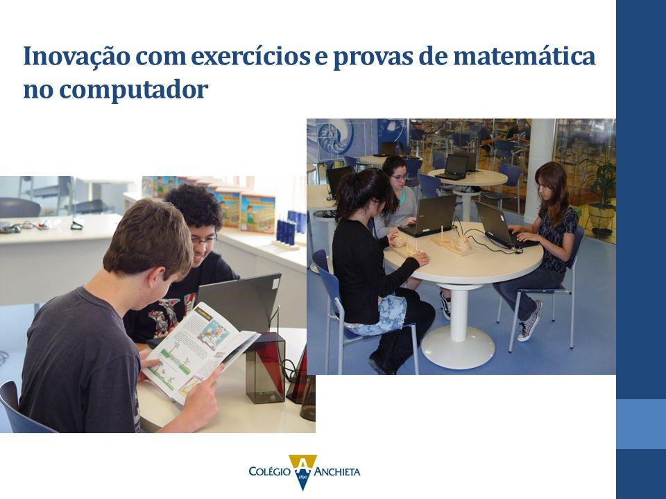 Inovação com exercícios e provas de matemática no computador
