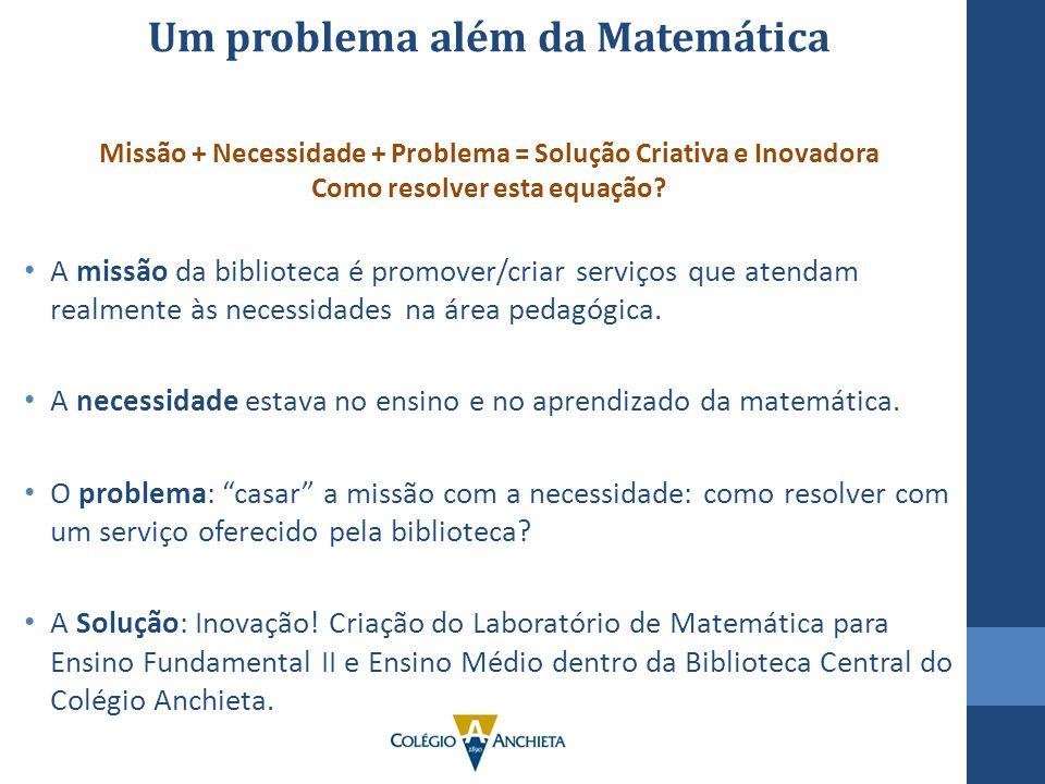 Um problema além da Matemática Missão + Necessidade + Problema = Solução Criativa e Inovadora Como resolver esta equação? A missão da biblioteca é pro