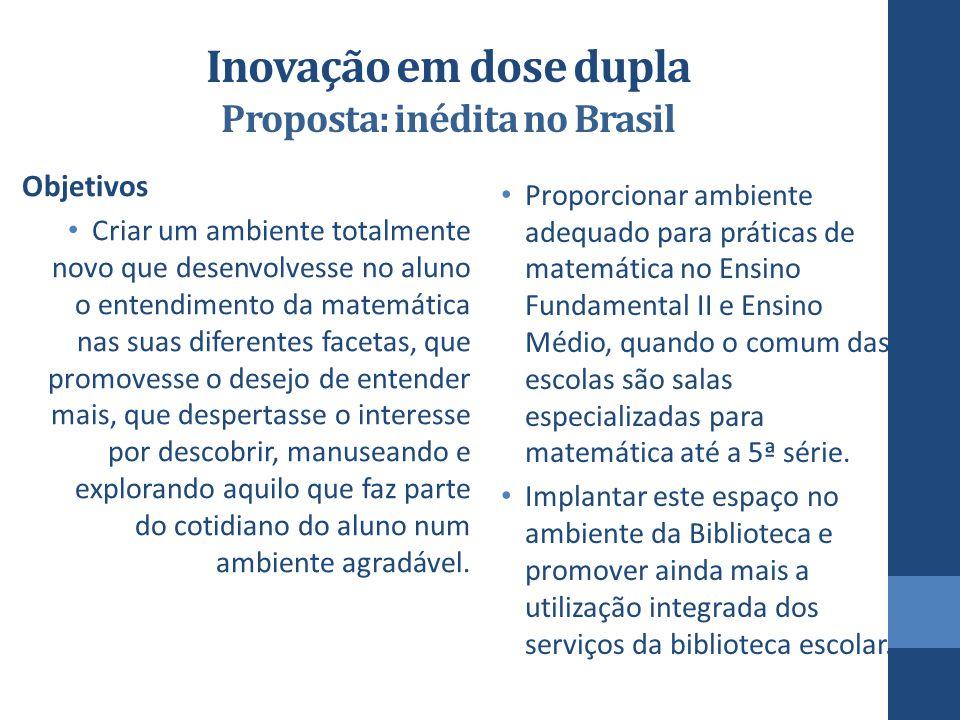 Inovação em dose dupla Proposta: inédita no Brasil Objetivos Criar um ambiente totalmente novo que desenvolvesse no aluno o entendimento da matemática