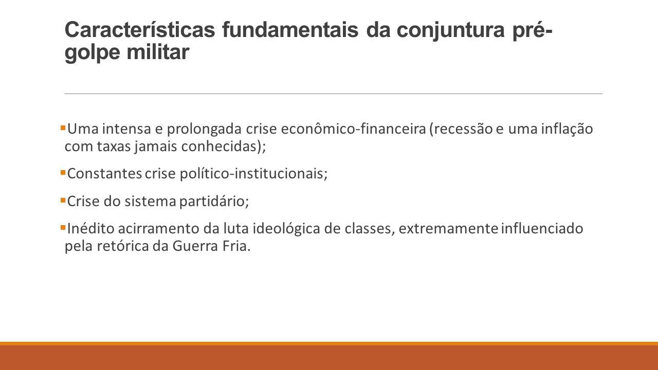Características fundamentais da conjuntura pré- golpe militar  Uma intensa e prolongada crise econômico-financeira (recessão e uma inflação com taxas