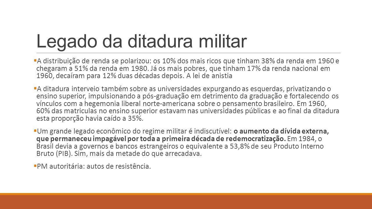 Legado da ditadura militar  A distribuição de renda se polarizou: os 10% dos mais ricos que tinham 38% da renda em 1960 e chegaram a 51% da renda em