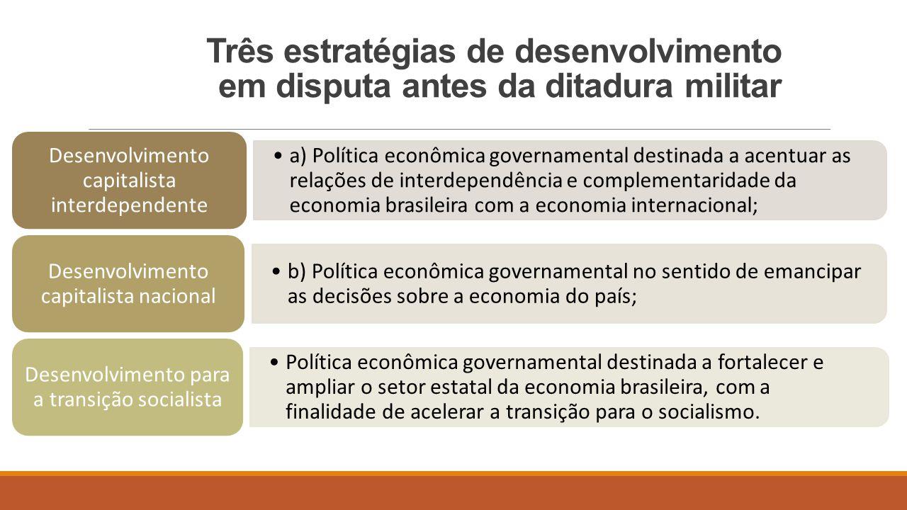 Três estratégias de desenvolvimento em disputa antes da ditadura militar a) Política econômica governamental destinada a acentuar as relações de inter