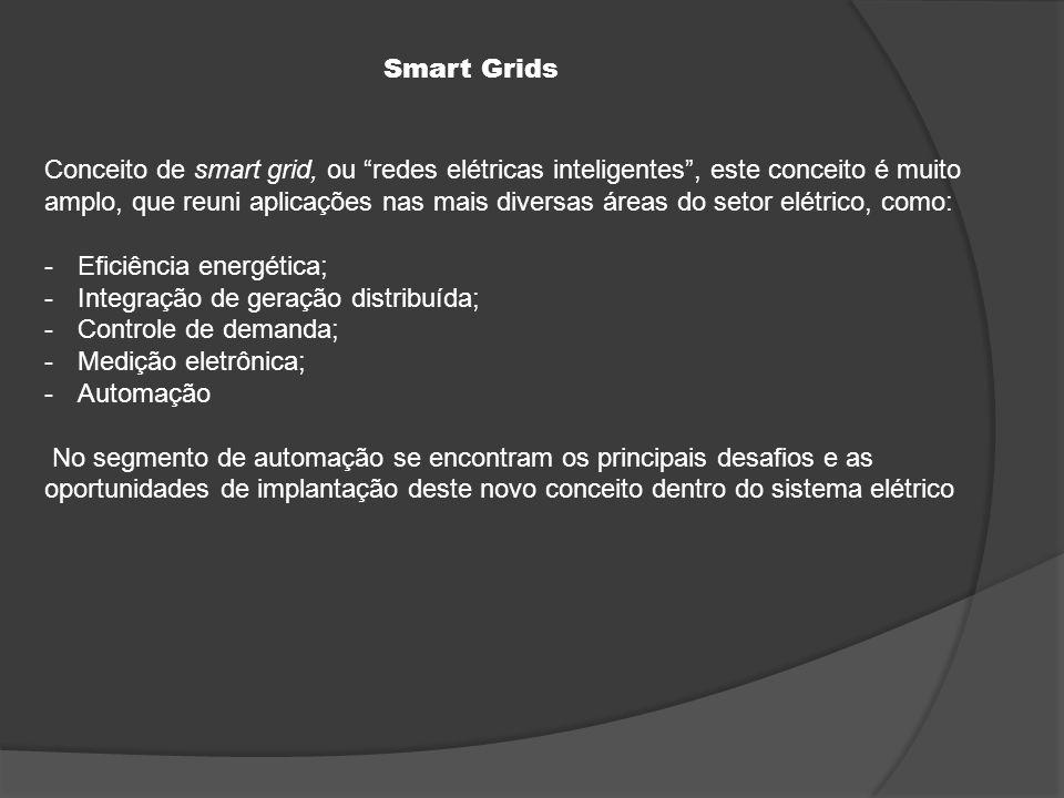 Conceito de smart grid, ou redes elétricas inteligentes , este conceito é muito amplo, que reuni aplicações nas mais diversas áreas do setor elétrico, como: -Eficiência energética; -Integração de geração distribuída; -Controle de demanda; -Medição eletrônica; -Automação No segmento de automação se encontram os principais desafios e as oportunidades de implantação deste novo conceito dentro do sistema elétrico Smart Grids