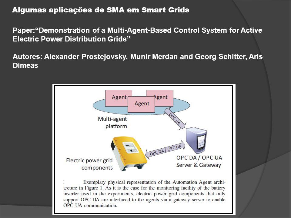 Algumas aplicações de SMA em Smart Grids Paper: Demonstration of a Multi-Agent-Based Control System for Active Electric Power Distribution Grids Autores: Alexander Prostejovsky, Munir Merdan and Georg Schitter, Aris Dimeas