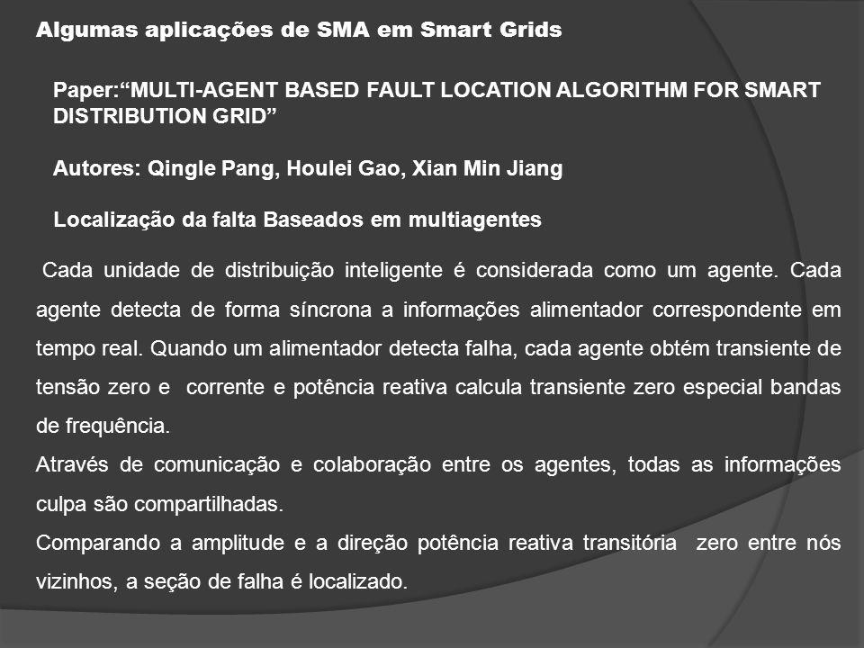 Algumas aplicações de SMA em Smart Grids Teste do caso - Simulação