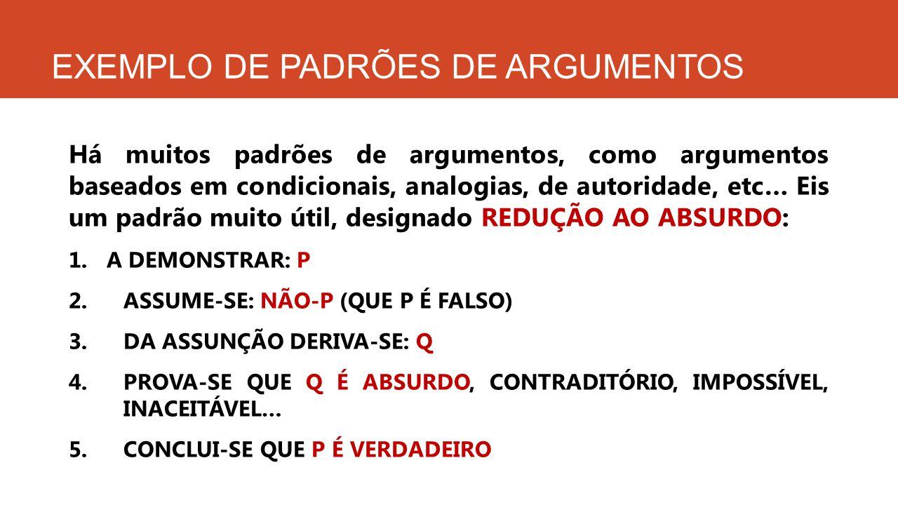 EXEMPLO DE PADRÕES DE ARGUMENTOS Há muitos padrões de argumentos, como argumentos baseados em condicionais, analogias, de autoridade, etc… Eis um padr