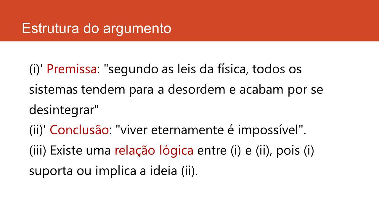 Estrutura do argumento CONCLUSÃO = proposição que desejamos provar ou justificar PREMISSA = proposição que serve de justificação ou prova para a conclusão