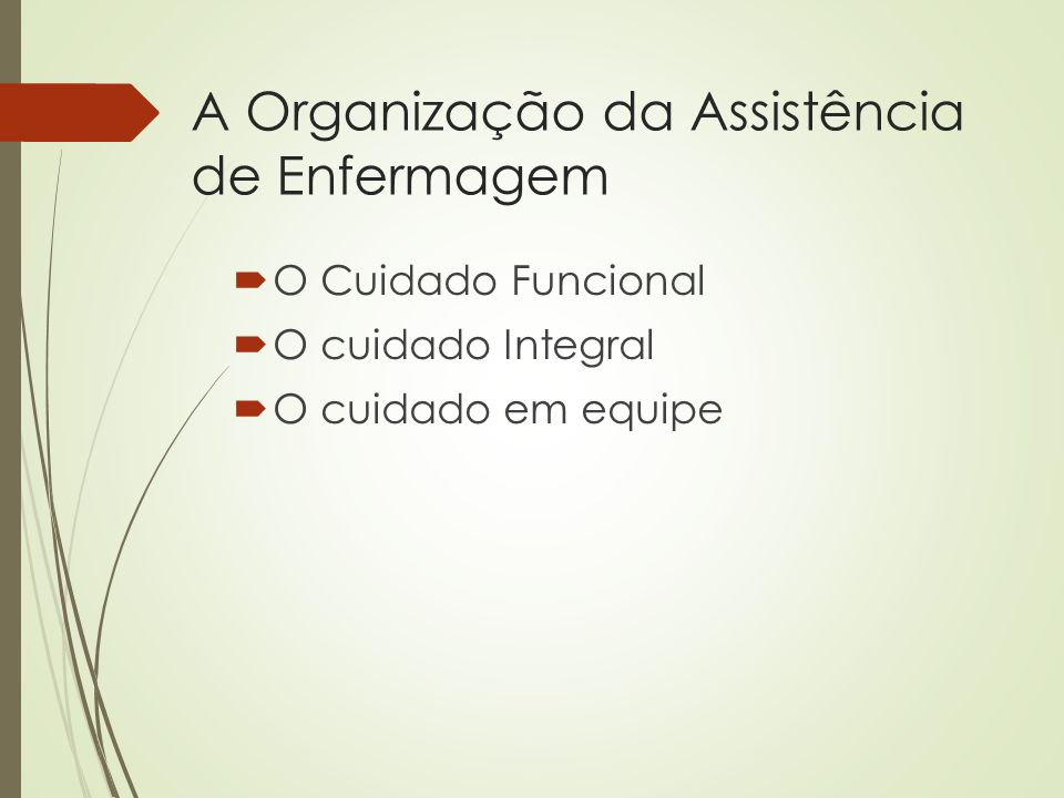 A Organização da Assistência de Enfermagem  O Cuidado Funcional  O cuidado Integral  O cuidado em equipe