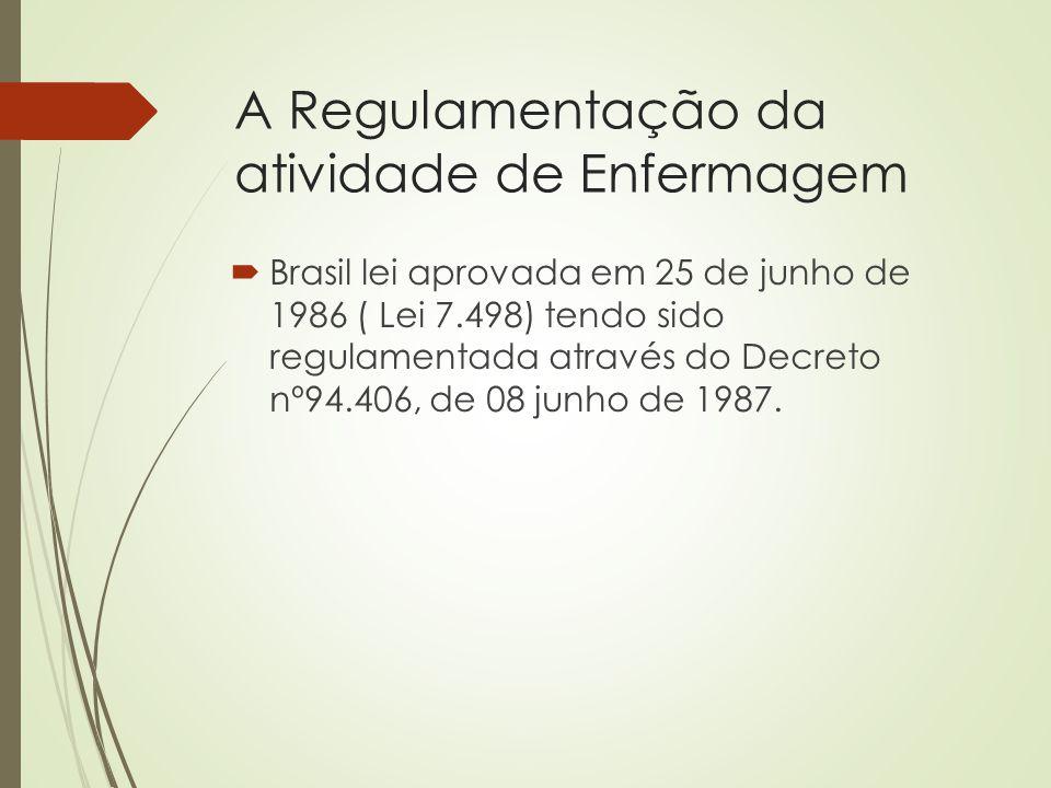 A Regulamentação da atividade de Enfermagem  Brasil lei aprovada em 25 de junho de 1986 ( Lei 7.498) tendo sido regulamentada através do Decreto nº94