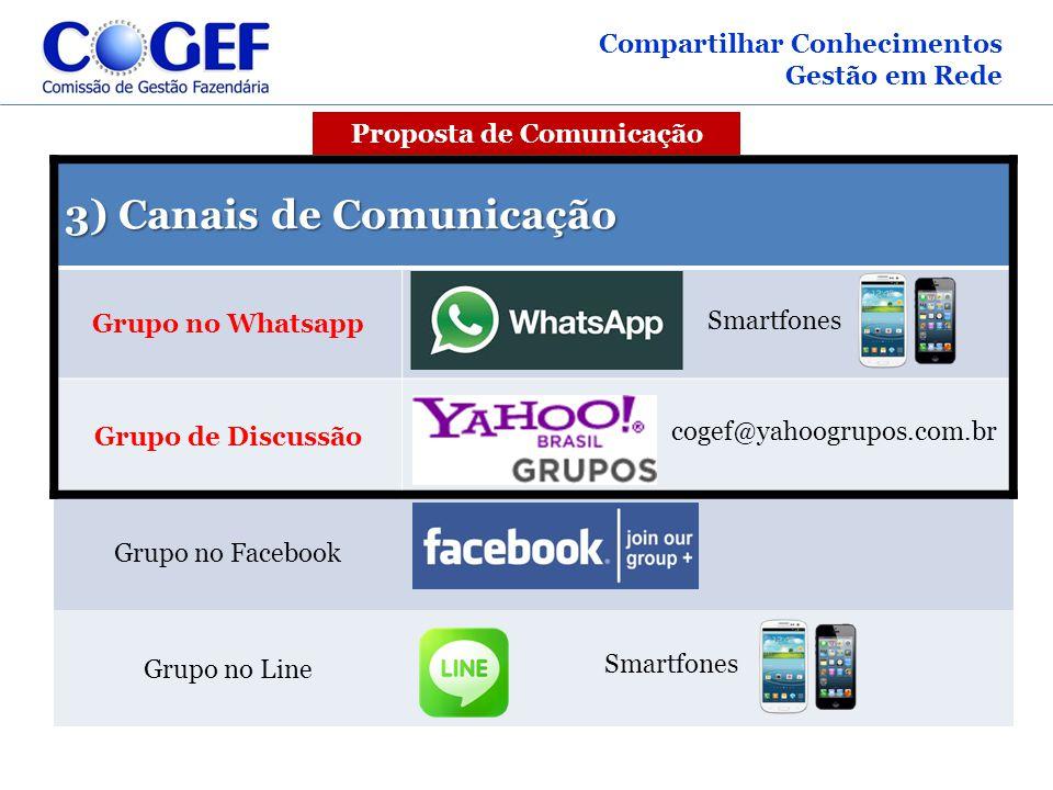 3) Canais de Comunicação Grupo no Whatsapp Smartfones Grupo de Discussão cogef@yahoogrupos.com.br Grupo no Facebook Grupo no Line Smartfones Compartil
