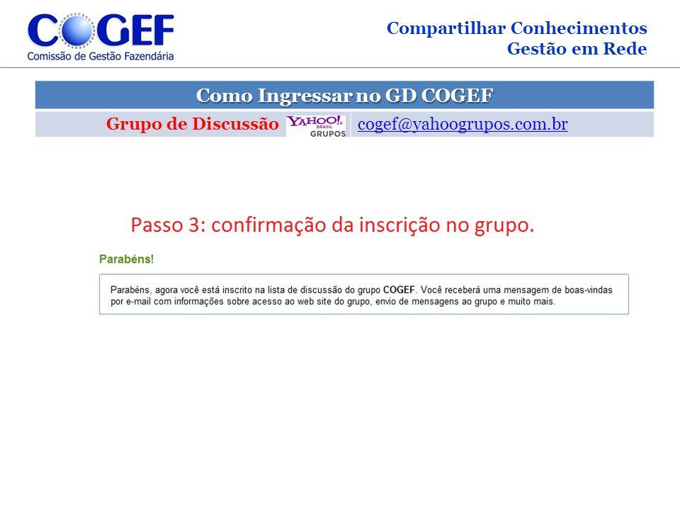 Como Ingressar no GD COGEF Grupo de Discussão cogef@yahoogrupos.com.br Compartilhar Conhecimentos Gestão em Rede