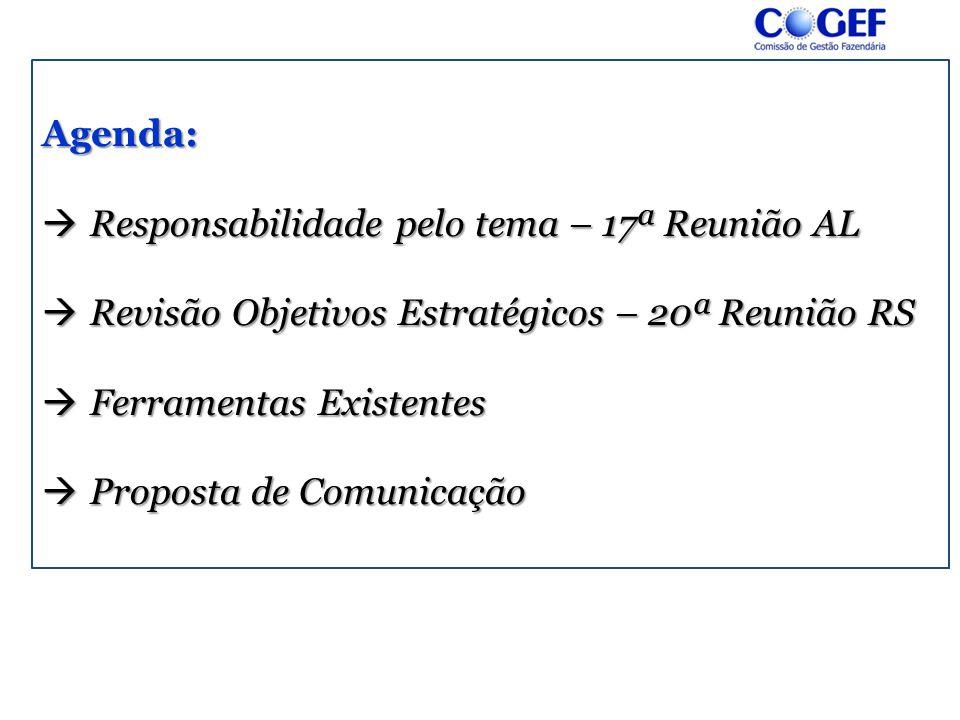 Agenda:  Responsabilidade pelo tema – 17ª Reunião AL  Revisão Objetivos Estratégicos – 20ª Reunião RS  Ferramentas Existentes  Proposta de Comunic